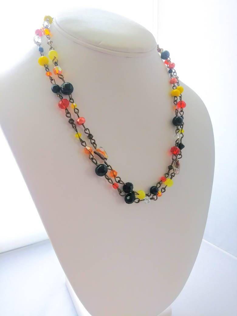 halloween necklace long beaded chain link wrap black orange etsy