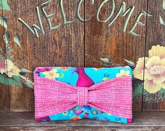 Bow Clutch -Blue/Pink Trolls Poppy or Navy/Orange Leather