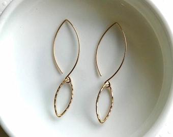 """Gold Leaf Marquis Earrings ~ Minimal Lightweight 14k Gold Filled Geometric Drop Earrings ~ Handmade Wire 2"""" Dangle Earrings"""
