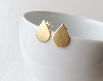 Gold Teardrop Earrings ~ Small Brass Droplet Geometric Stud ~ Minimal Everyday Post Earrings
