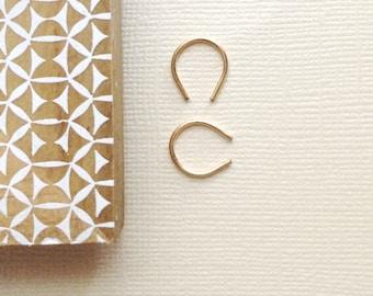 Tiny Gold Horseshoe Hoops ~ Minimal Modern Handmade Small Open Arc Hoop Earrings