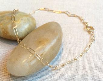 Rectangle Chain Bracelet ~ Simple Geometric Bracelet ~ Modern Minimal Layering Bracelet