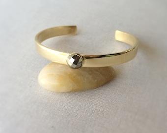 Pyrite Cuff Bracelet ~ Simple Hand Fabricated Brass and Rose Cut Gemstone Cuff ~ Minimal Neutral Gold Stacking Bracelet