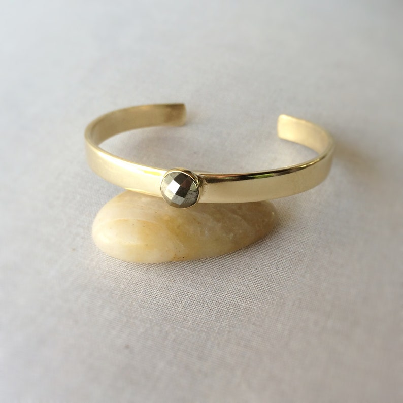 Pyrite Cuff Bracelet  Simple Hand Fabricated Brass and Rose image 0