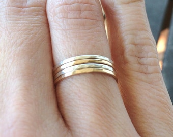 Mixed Metal Stacking Rings - 14k Gold Filled and Sterling Silver ~ Choose Your Set ~ Minimal Skinny Hammered Bands