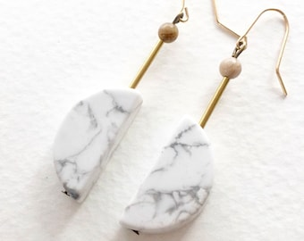 Half moon Marble Earrings, Abstract earrings, Geometric earrings, Architectural earrings, White Marble earrings, Crescent Moon Earrings