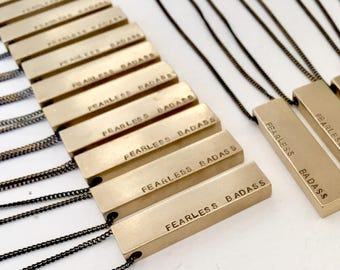 Personalized bar necklace, Fearless Badass, mantra necklace, Personalized quote, brass bar necklace, personalized name necklace