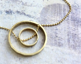 Double circle necklace, infinity circle necklace, circle in circle necklace, geometric necklace, totality necklace, minimal delicate