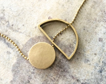Sun and Moon necklace, geometric necklace, minimalist necklace, Circle and semicircle necklace, Moon and Sun Necklace