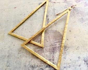 Large Triangle Hoop earrings, Triangle hoops, Triangle earrings, hand hammered hoops, Big Hoops, Statement earrings, Large Triangle Earrings