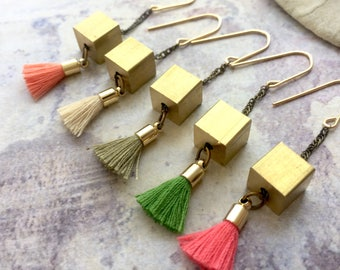 Cube earrings, Tassel earrings, Cube tassel earrings, Brass cube earrings, modern geometric earrings, minimalist jewelry