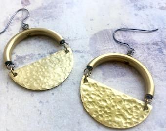 Half Moon earrings, Half Circle earrings, Path of Totality Earrings, Abstract earrings, Moon Earrings, Hammered Half Moon Long Earrings