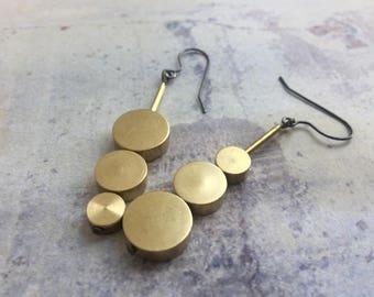 Lollipop Drop Earrings, minimal brass earrings, architectural earrings, Geometric earrings, modern minimal earrings