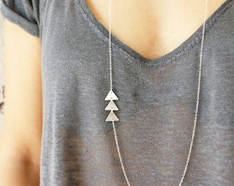Triangle statement necklace, asymmetrical layering necklace, geometric jewelry, sterling silver triangle necklace gift for her