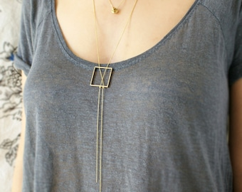 Geometric Y necklace, statement necklace, square lariat necklace, chain tassel square necklace, layering y necklace, gift for her