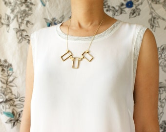 Art Deco Statement necklace, geometric statement necklace, architectural shape gold statement necklace, gift for her, unusual jewelry gift