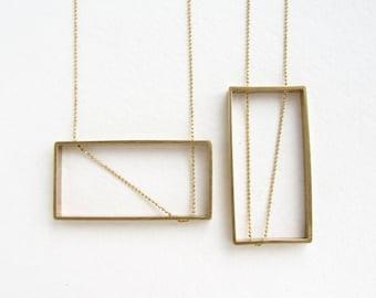 Rectangle pendant statement necklace, geometric rectangular pendant, art deco pendant long necklace, long rectangle necklace gift for her