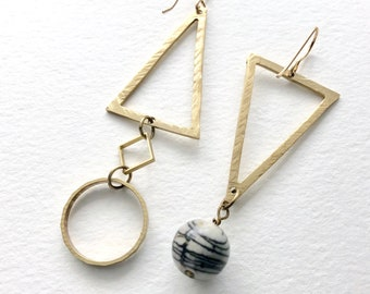 Mismatched Geometric Earrings, Abstract Statement Earrings, Triangle Circle Square Earrings, black white Architectural Jewelry