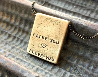 Valentines necklace for men, I like you I love you necklace, Personalized Men Jewelry, hand stamped bar necklace, name necklace