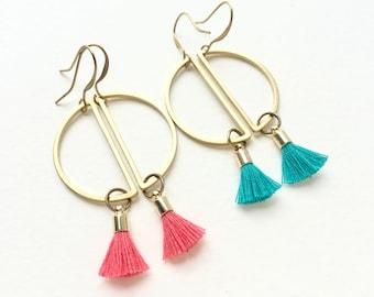 Tassel earrings, geometric tassel earrings, half moon tassel earrings, architectural brass earrings, colorful tassel earrings