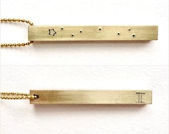 Gemini Constellation jewelry, Gemini Bar Necklace, Personalized name necklace, zodiac jewelry, Gemini Constellation necklace