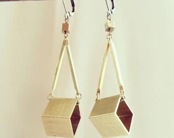 Cube dangle earrings, geometric 3D square dangle brass bar earrings, industrial minimal brass jewelry gift for her