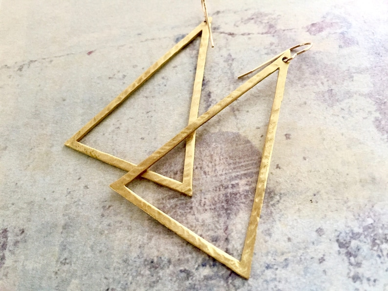 f2f6d8ed9a75a Large Triangle Hoop earrings, Triangle hoops, Triangle earrings, hand  hammered hoops, Big Hoops, Statement earrings, Large Triangle Earrings