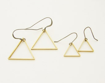 Triangle drop earrings, geometric jewelry, brass jewelry, geometric triangle dangle earrings