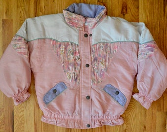 8b61a03407 80s Puffy Pastel Pink Vintage Ski Jacket Full Coat Insulated Jacket  Winterwear Fall Spring Color Block Windbreaker Material - Unisex Small