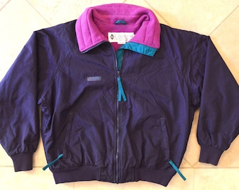 Columbia Very RARE 80s Multi-Colored Columbia Mid-Weight Jacket - Purple with Pink Fleece Lining - Women's Large