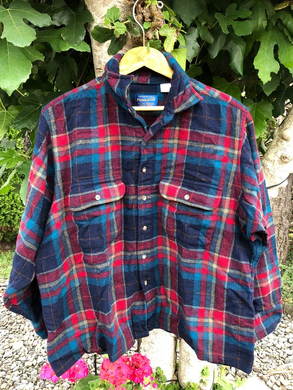Vintage 90s Pendleton Flannel with Elbow Patches C