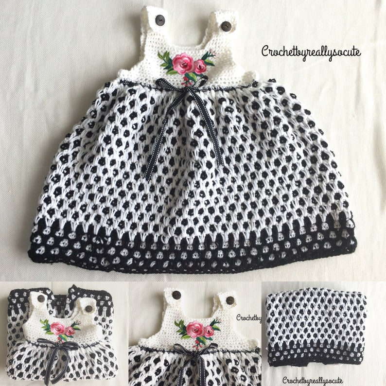 bc00d9430a70 18-24 Month Baby girl tunic handmade black and white little