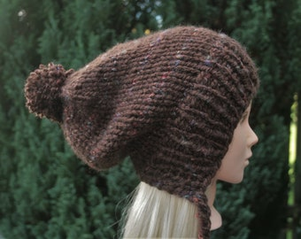 198a40cfe60 Brown Tweed Women s knitted hat with Pom Pom Ear Flap hat Hand Knit Slouchy Beanie  hat Chunky knit winter hat Knit Accessories OCEANSHELL