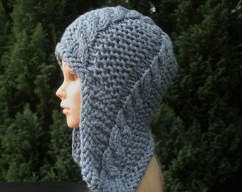 41015074c Knit earflap hat | Etsy