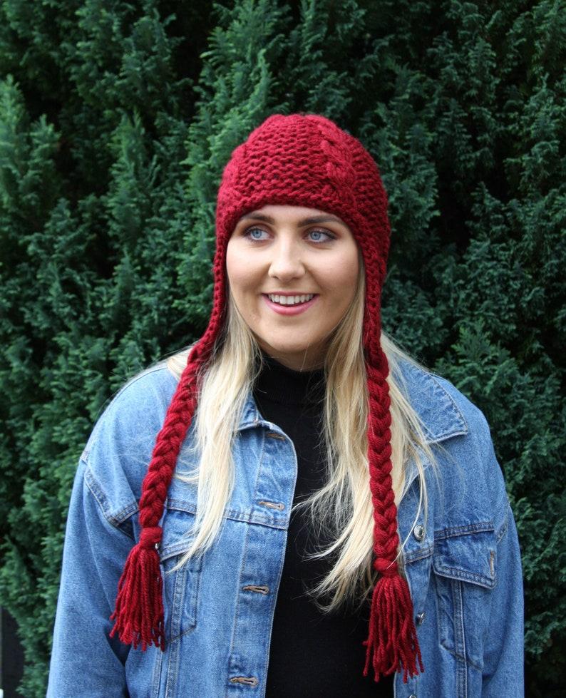 Burgundy Chunky Knit Women/'s hat Winter knit hat Trapper hat Aviator hat Ear Flap hat Beanie hat Fall accessories Knit accessories UK Shop
