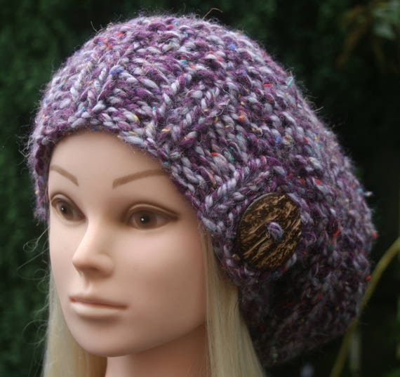c7b4fad2502 Purple SLOUCHY BEANIE hat with a big coconut button