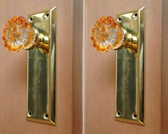 Crystal Amber Door Knobs With Tall Polished Brass Plate. Standard French  Door Knobs (2 Sides Of 1 Door) Or Dummy Knobs (One Side Of 2 Doors)