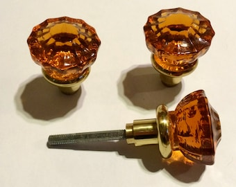 3 Astoria Crystal Door Knobs  Amber Color Is Burned Into Crystal. The Knob  Stem Is Solid Brass.