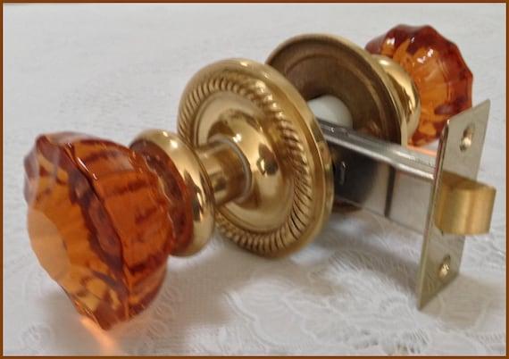 Crystal Door Knobs Astoria Rusty Amber Or Cobalt Blue With   Etsy