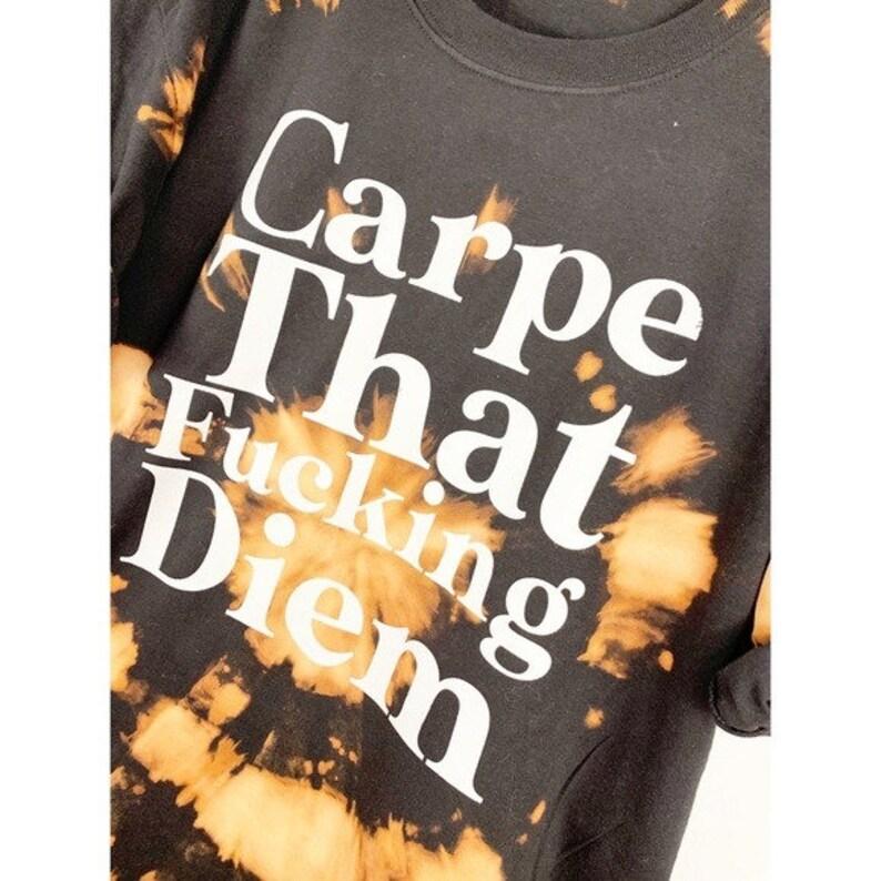 Carpe Diem Bleach Tie Dyed Oversized T Shirt Tunic