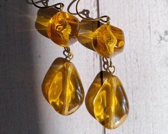 Honey Colored Drop Earrings