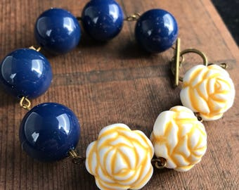 Chunky Yellow and Navy Colorblock Bracelet