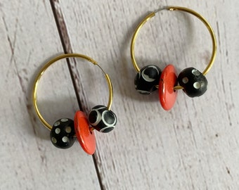 Beaded Hoop Earrings, Black and Red Hoop Earring