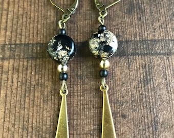 Vintage Black and White Dangle Earrings