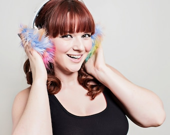 Rainbow Faux Fur Headphone Covers