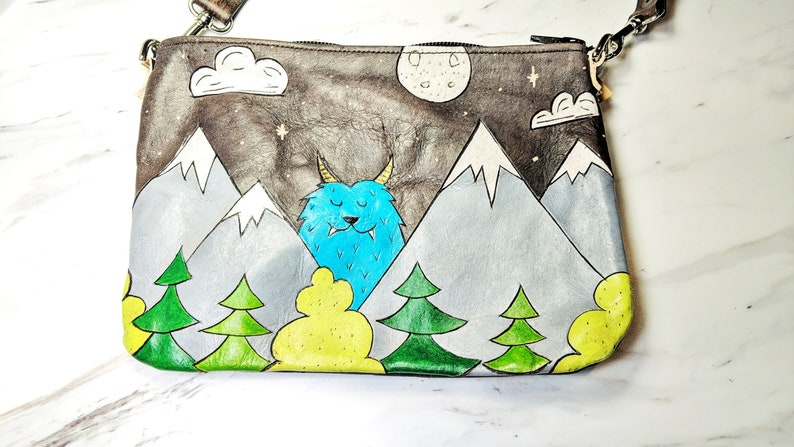 bb541f76bf7 Leather Clutch Leather Crossbody bag Mountain Monster bag