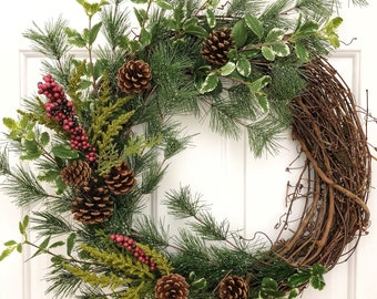 christmas pine wreath front door wreath rustic wreath winter wreath christmas door decor christmas wreath holiday wreath - Christmas Front Door Decor