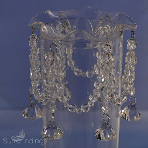 Bobeche in Clear Acrylic with Leaf Design 6 Acrylic Crystal Drops