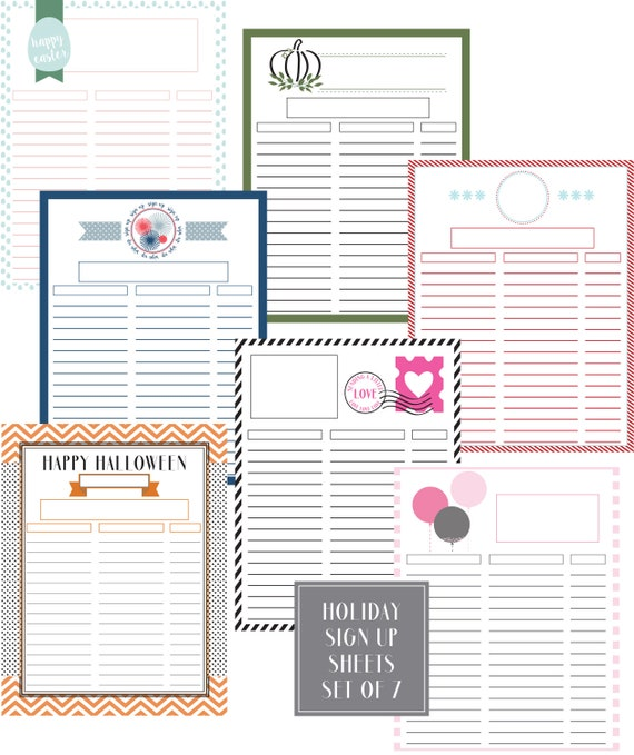 holiday sign up sheets 7 sheets filled unfilled with etsy