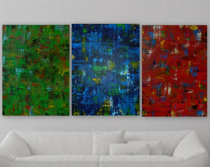 """XL large Green red and blue yellow 3- 30"""" x 40"""" panel acrylic paintings original modern abstract painting contemporary art each 48"""" x 36"""""""